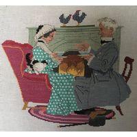 Вышивка крестиком бабушка и дедушка пьют чай