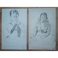 Крохалев Петр. Два рисунка девушек. Карандаш. Бумага. 10х19 см. Цена за 1.