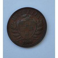 Швейцария 2 раппена, 1900 7-5-44
