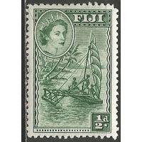 Фиджи. Королева Елизавета II. Парусник. 1954г. Mi#124.