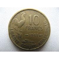 Франция 10 франков 1951 г.