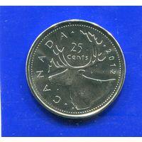 Канада 25 центов 2012 UNC