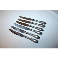 Мельхиоровые ножи СССР, 6 штук, длина 21.5 см.