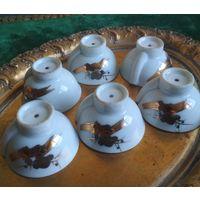 Миниатюрная пиала рюмка для рисовой водки (Сакэ) Япония фарфор, позолота 6 шт.