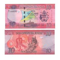 Банкнота Соломоновы о-ва 10 долларов префикс А/2 (2017) UNC ПРЕСС новый выпуск