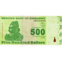 Зимбабве, 500 долларов, 2009 г., UNC
