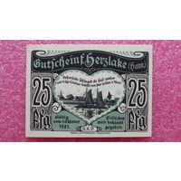 25 Пфеннигов -1921- Herzlake -Германия- *-практически идеальная-