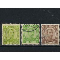 Дания Исландия Уния 1921 Христиан X Стандарт #99-101.