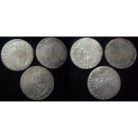 6 грошей 1664 г. AT Ян Казимир II Ваза,  3шт цена за всё, распродажа!