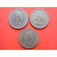 3 британские монеты (1 шиллинг 1959 Нигерия, 1/2 рупии 1972 Сейшелы, 1/2 рупии 1971 Маврикий)