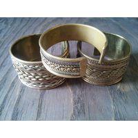 Широкий браслет-2, металл+плетение, Индия, винтаж