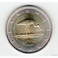 Латвия. Монета номиналом 2 евро 2015 года (Аист)