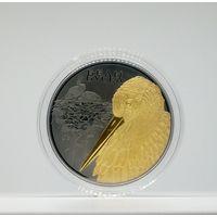 Белый аист, 20 рублей 2009, серебро Ag 925 (рутений с позолотой), тираж - 99 шт. ЭКСКЛЮЗИВ!
