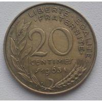 """Франция 20 сентим 1963 """"Сова"""", KM#930"""