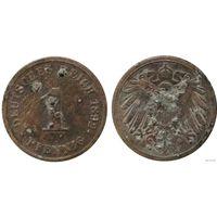 YS: Германия, Рейх, 1 пфенниг 1892J, KM# 10