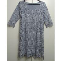 Кружевное ажурное голубое Платье нарядное повседневное хлопок трикотаж размер М