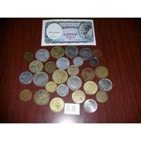 28 монет мира + 5 пиастров (Египет)