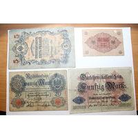 Банкноты Германии 3 штуки+5 рублей РИ 1909 года.
