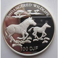 Джибути. 100 франков 1994 Зебры. Редкая. Серебро (86)