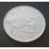 Бермудские острова 5 центов 1986г. Средний портрет.