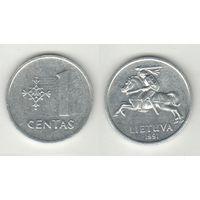 Литва _km85 1 цент 1991 год (h06)