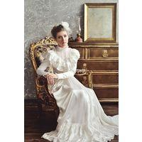 Винтажное платье со шлейфом, 40 размер