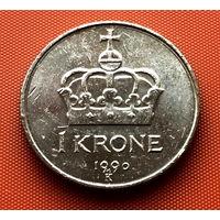 107-08 Норвегия, 1 крона 1990 г.