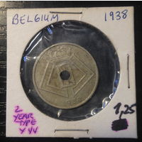 Бельгия, 25 сентим 1938г.