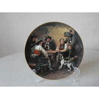 Тарелка настенная фарфор На милостыню Lilien Porzellan Австрия художник Franz von Defregger, Bradex.