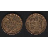 Южная Африка (ЮАР) km136 20 центов 1994 год (all)(f10)
