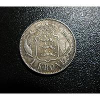 ДАНИЯ 1 крона ХРИСТИАН X серебро, нечастая!