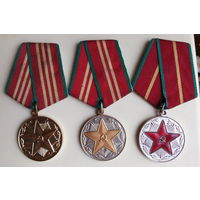 За 10, 15, 20 лет безупречной службы ВС СССР. За безупречную службу.