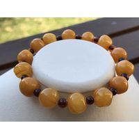 Браслет янтарь балтийский- АНТИЧНЫЙ-медовыйи вишневый цвет-гарантия качества натурального камня-новый