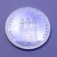 "ФРГ, 10 марок 1989 год, ""800 лет Гамбургскому порту (Серебро 0.625, 15.5г)"""