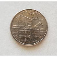 25 центов США 2001 г. штат Кентукки P