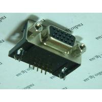 Разъём VGA-15pin (розетка) угловой для установки на плату
