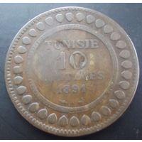 Тунис. 10 сантимов 1891