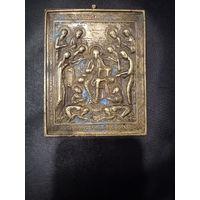 "Икона ""Спас на троне"", РИ 19 век, латунь, эмаль. 13х10см"
