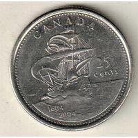 Канада 25 цент 2004 400 лет первому французскому поселению