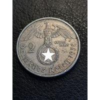 2 рейхсмарки Германия 1938 А (Третий Рейх). Монета не чищена, в отличном состоянии. Серебро 625. 44