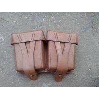 Оригинальный кожаный подсумок. Репарация, складского хранения. Германия 1950 год!