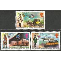 Антигуа. 100 лет Всемирному Почтовому Союзу. 1974г. Mi#323-25.