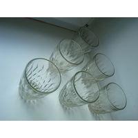 6 красивых стаканов - интересная форма. Толстое стекло. Из СССР. Без дефектов!