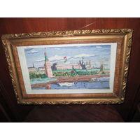 Картина-вышивка Москва Кремль.