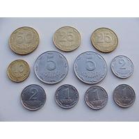Украина. набор 11 монет 1,2,5,10,25,50 копеек 1992 - 2014 год