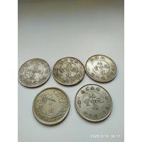 Китай нач. ХХ-го века. 5 монет. Копии. Магнит.
