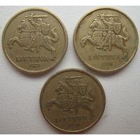 Литва 10 центов 1997, 1998, 1999 гг. Цена за 1 шт.