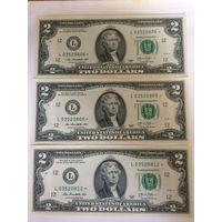 2 доллара США 2013 года, со звездой (звёздная), UNC пресс, 3 банкноты L03520806, L03520808 и L03520812
