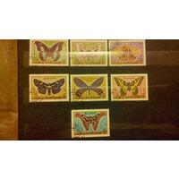 Насекомые, бабочки, фауна, марки, Йемен, 1990