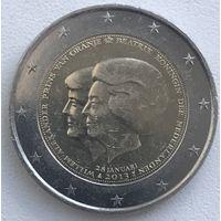 2 евро Нидерланды 2013г. Объявление Королевы Беатрикс